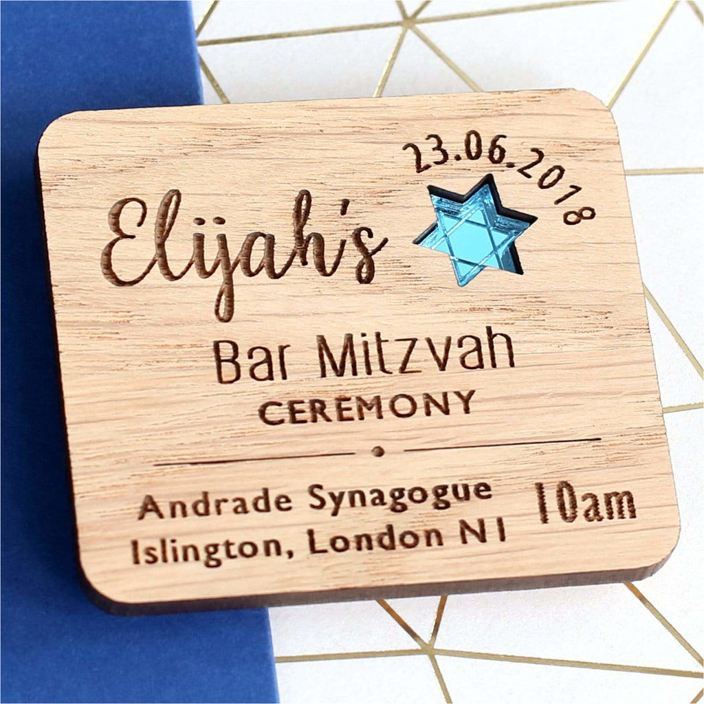 Bar Mitzvah Wooden Invitation NIVI Design