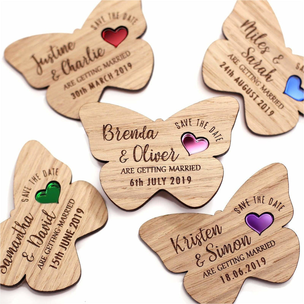 Butterfly Save The Date Wooden Magnets with Coloured Hearts NIVI Design