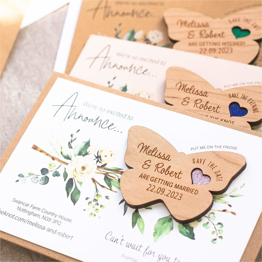 Butterfly Wood Save The Date Magnets With Cards NIVI Design