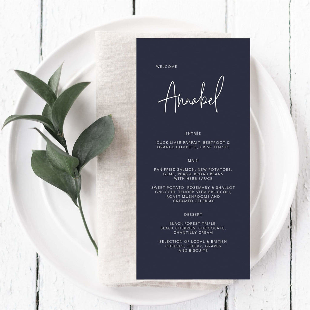 Coloured Menu Card With Guest Names NIVI Design