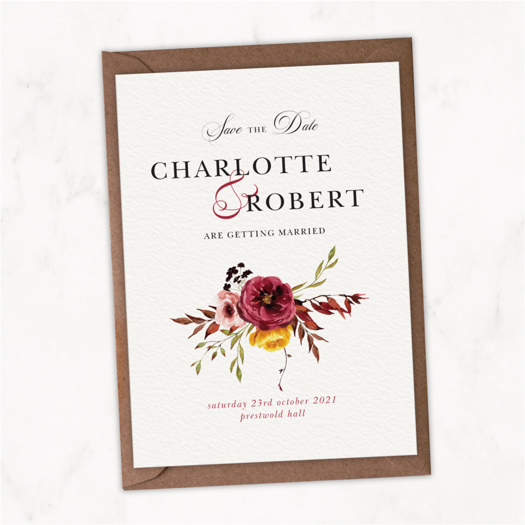 Fall Floral Save The Date Card NIVI Design