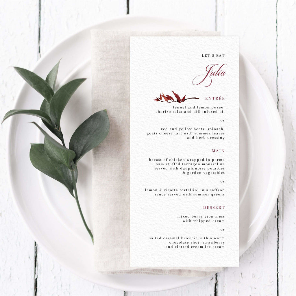 Fall Menu Card With Guest Names NIVI Design