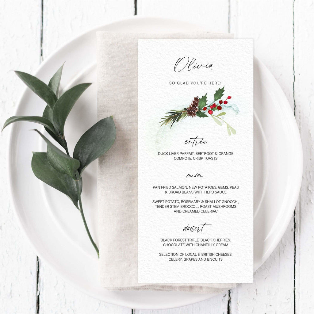 Festive Winter Menu Cards With Guest Names NIVI Design
