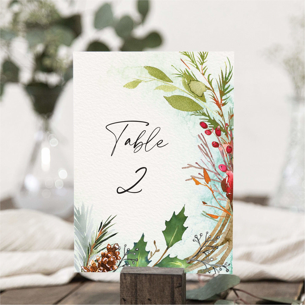 Festive Winter Table Numbers NIVI Design