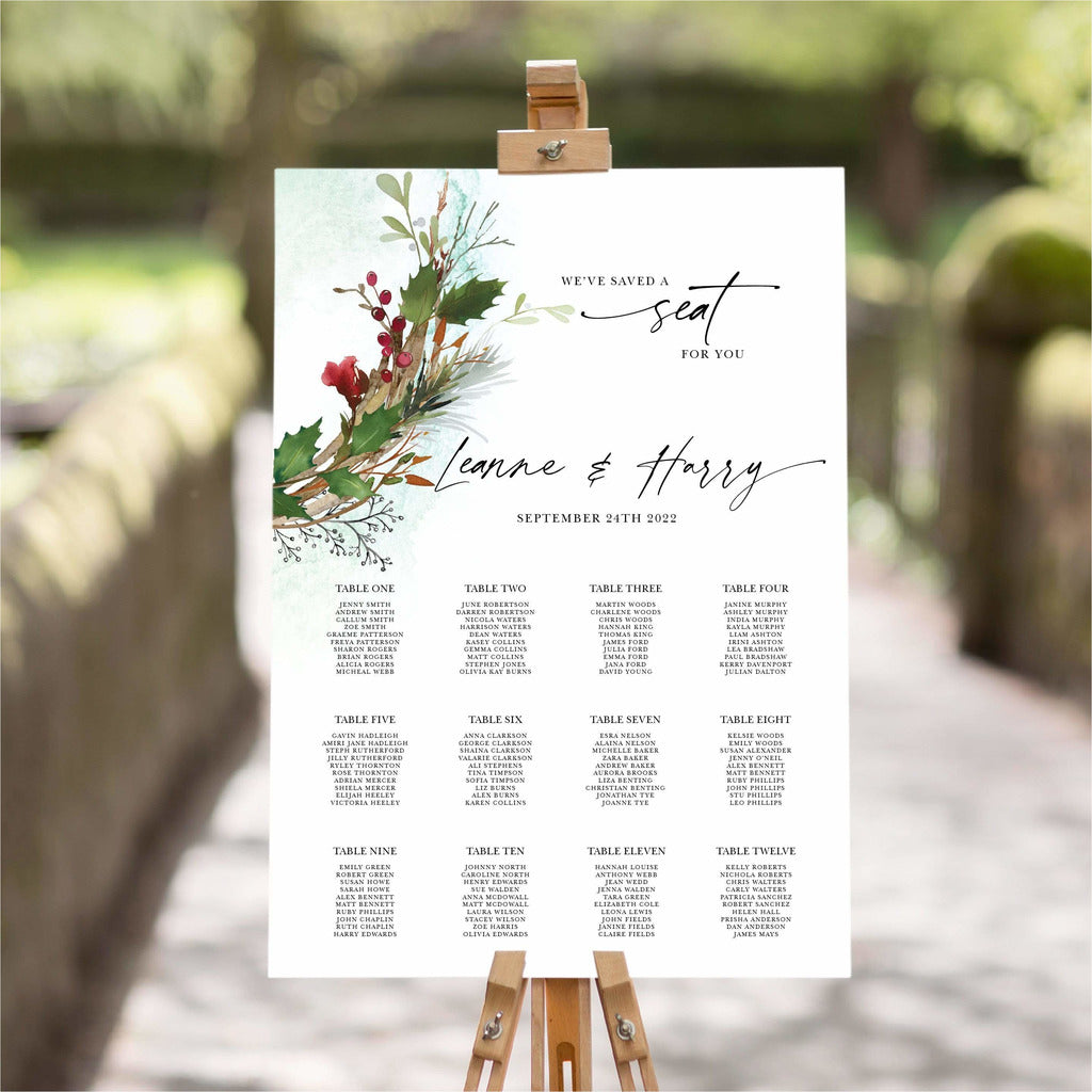 Festive Winter Wedding Table Plan NIVI Design