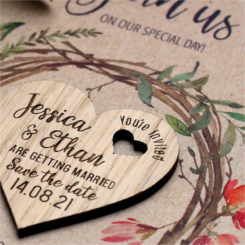 Floral Save The Date Magnets Wood Heart with Cards NIVI Design