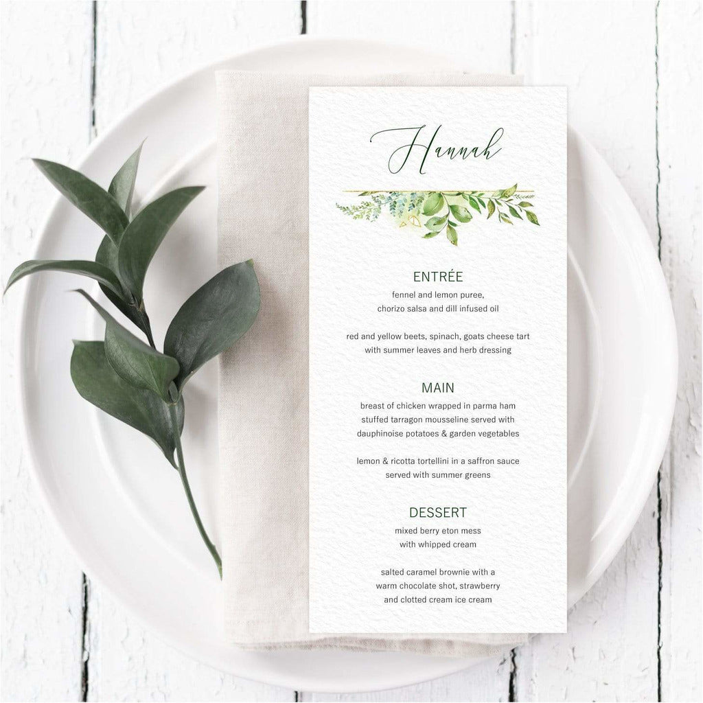 Foliage Menu Card With Guest Names NIVI Design