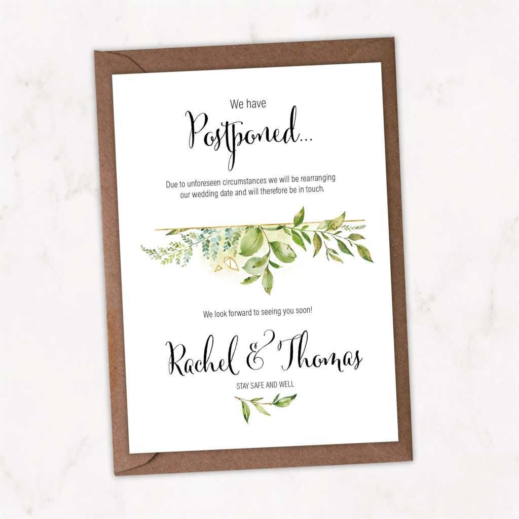 Foliage Save Our New Date Card NIVI Design