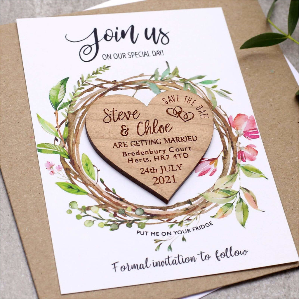 Foliage Save the Date Wooden Heart Wedding Magnet Card NIVI Design