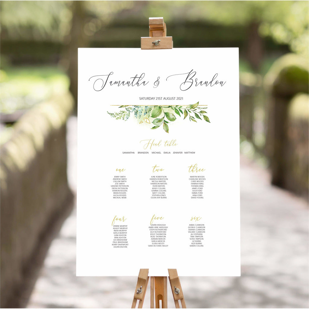 Foliage Wedding Table Plan NIVI Design