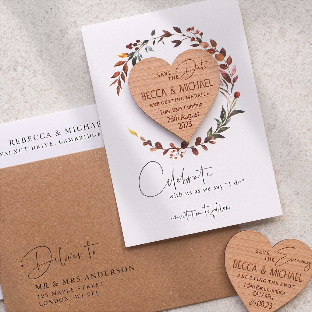 Four seasons save the date heart magnets NIVI Design
