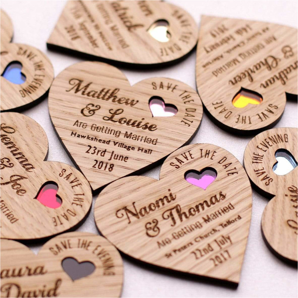 Heart Save The Date Wooden Magnets with Coloured Hearts NiVi Design
