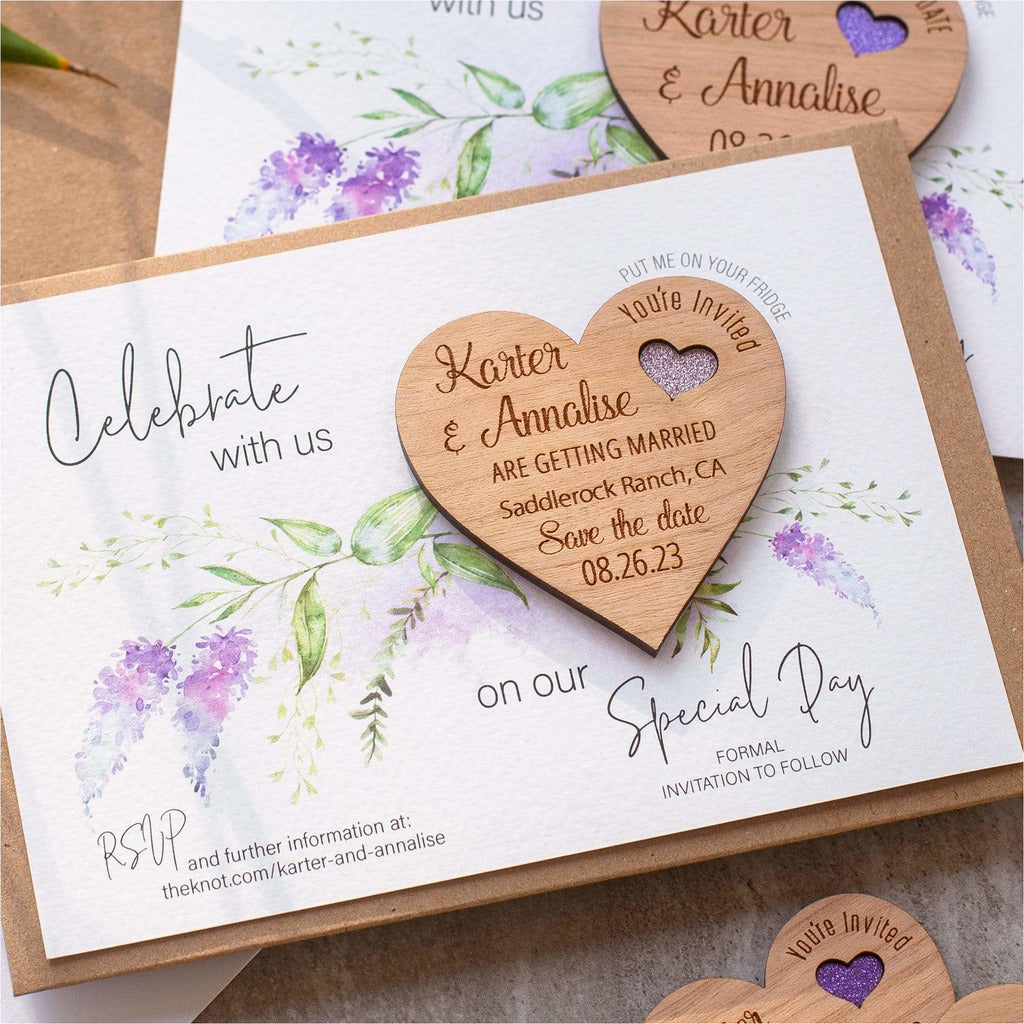 Lavender Floral Save The Date Magnets and Cards NIVI Design