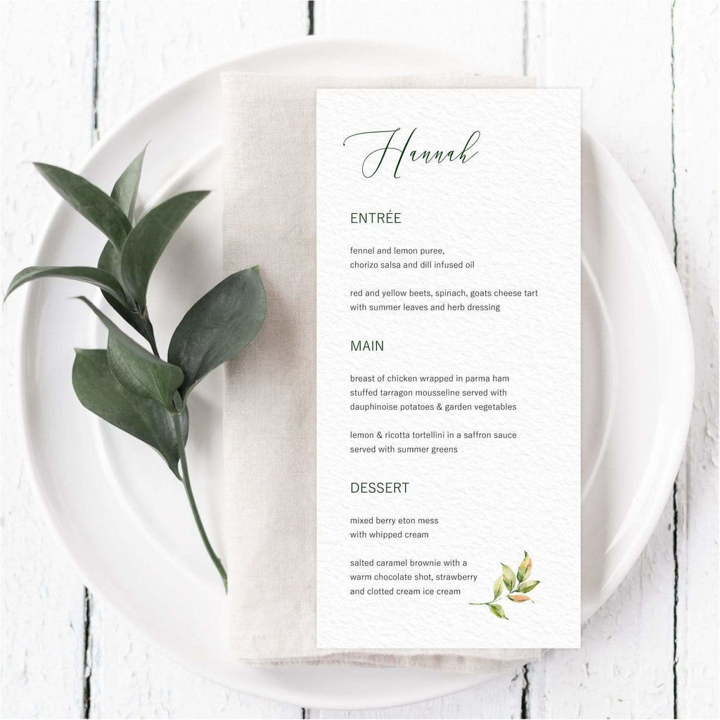 Leaf Menu Card With Guest Names NIVI Design