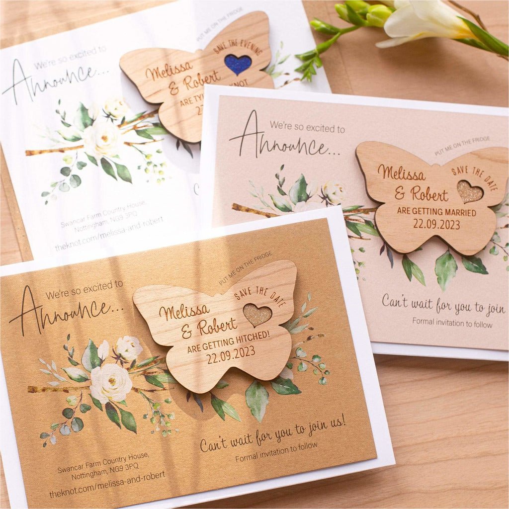 Luxury Rustic Butterfly Save The Date Magnets With Cards NIVI Design