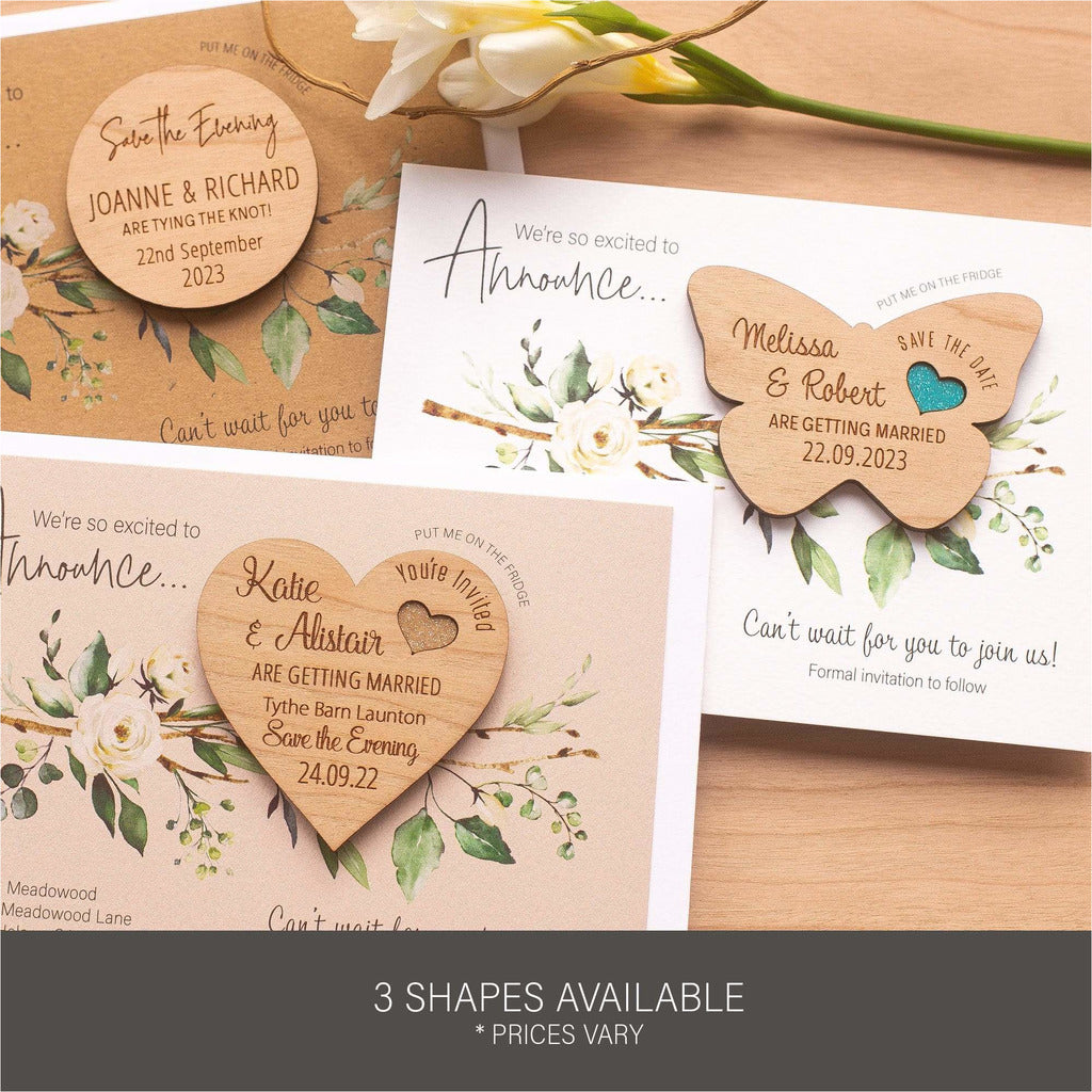Luxury Rustic Save The Date Magnets With Cards NIVI Design