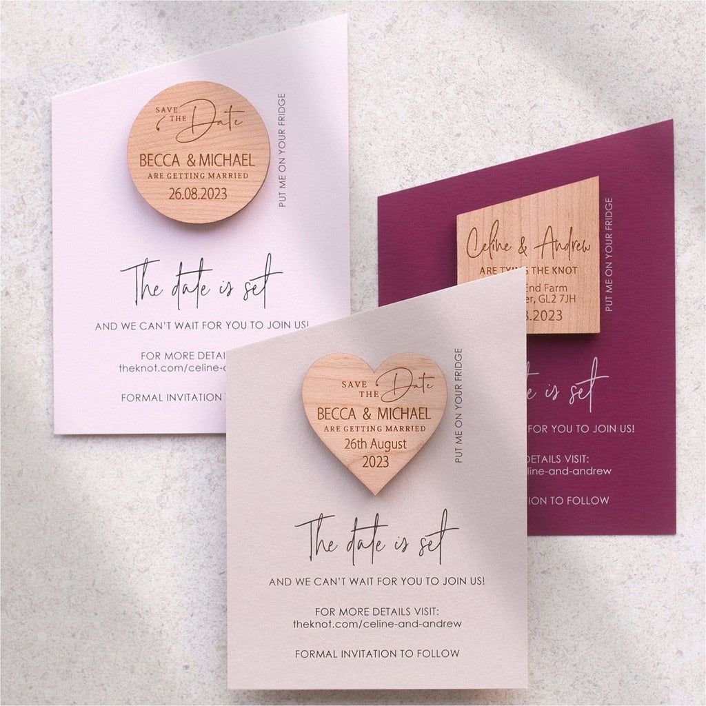 Modern angled save the date magnet NIVI Design