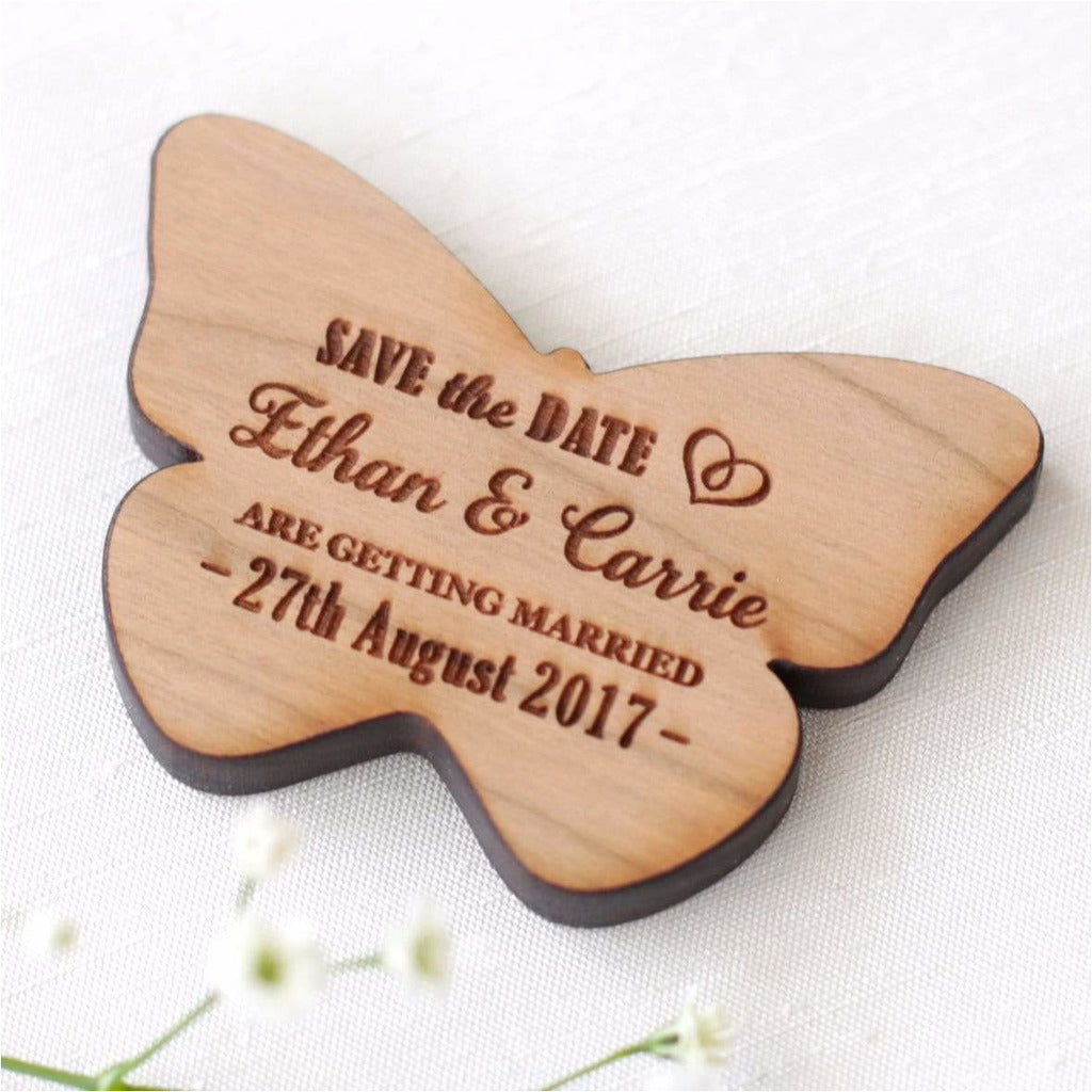 Personalised Wedding Save The Date Magnets Wooden Butterfly NiVi Design