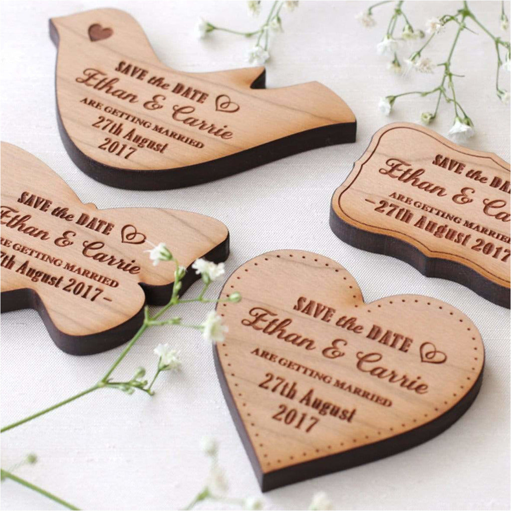 Personalised Wedding Save The Date Magnets Wooden Doves NiVi Design