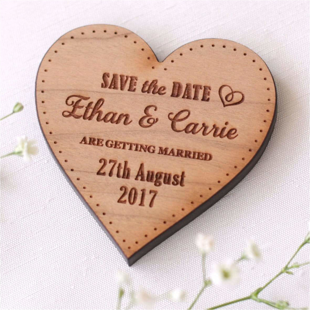 Personalised Wedding Save The Date Magnets Wooden Hearts NiVi Design