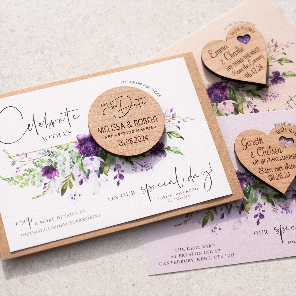 Purple rose round save the date magnets & cards NIVI Design