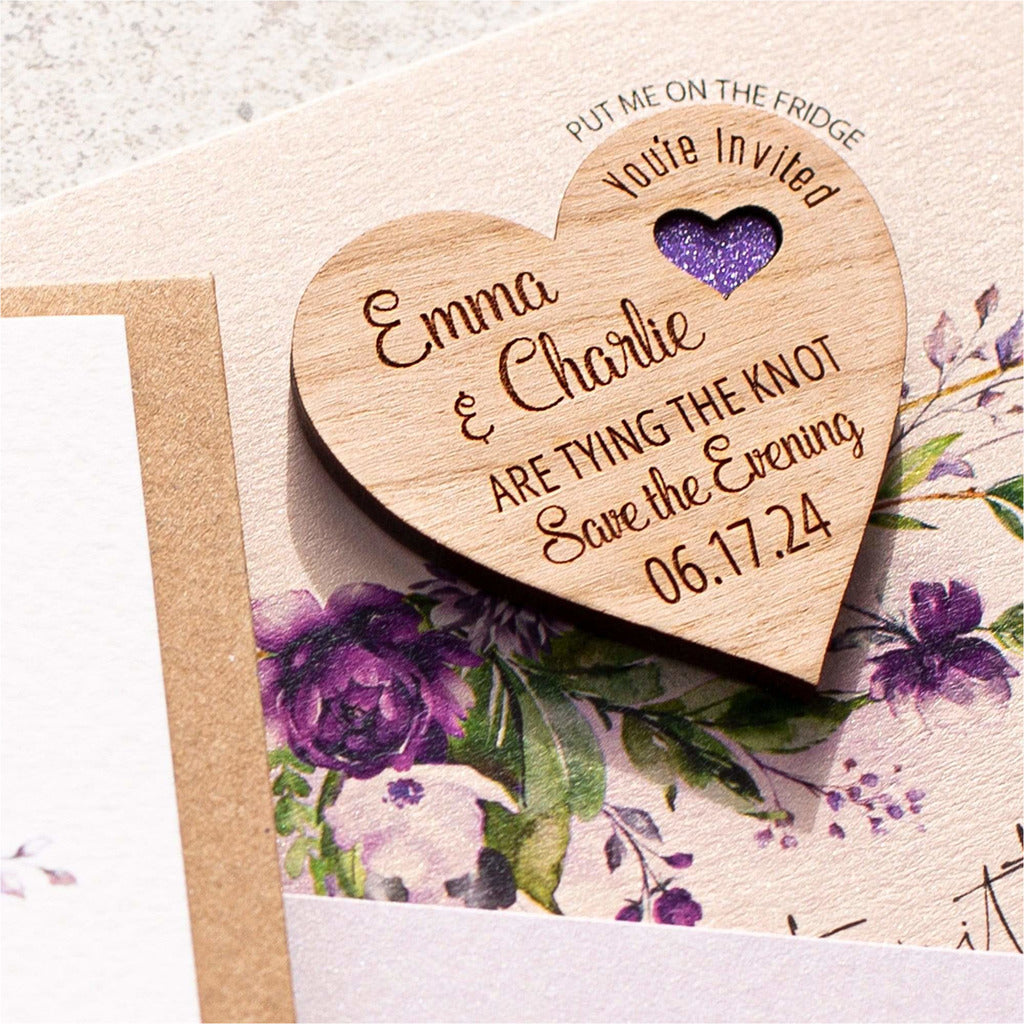 Purple rose save the date magnets & cards NIVI Design