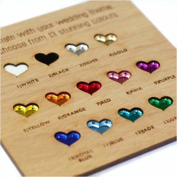 Rectangle Save The Date Wooden Magnets with Coloured Hearts NiVi Design