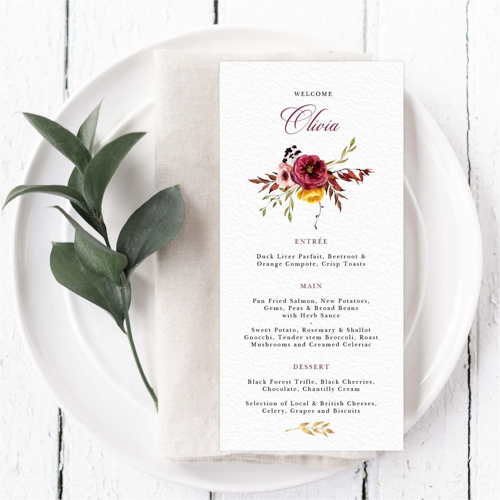 Romantic Fall Menu Cards With Guest Names NIVI Design