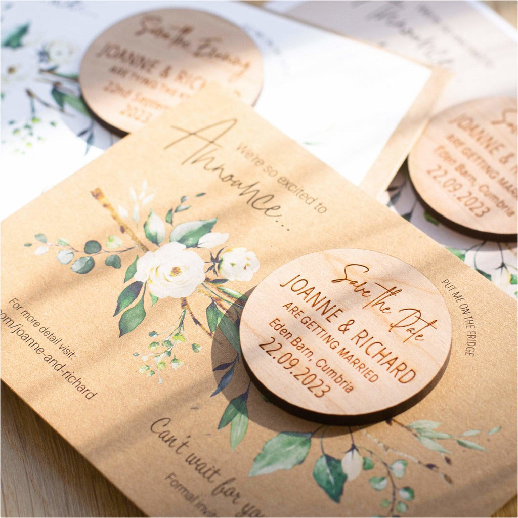 Round Wood Save The Date Magnets with Luxury Cards NIVI Design