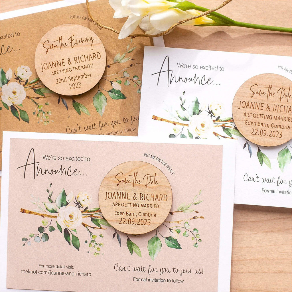 Rustic Round Wood Save The Date Magnets With Custom Cards NIVI Design