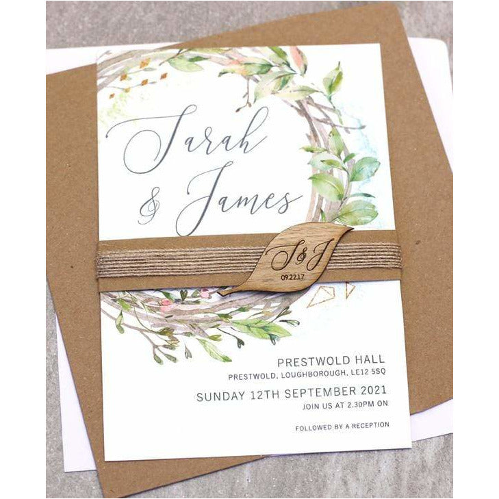 Rustic Wreath Wedding Invitation NIVI Design