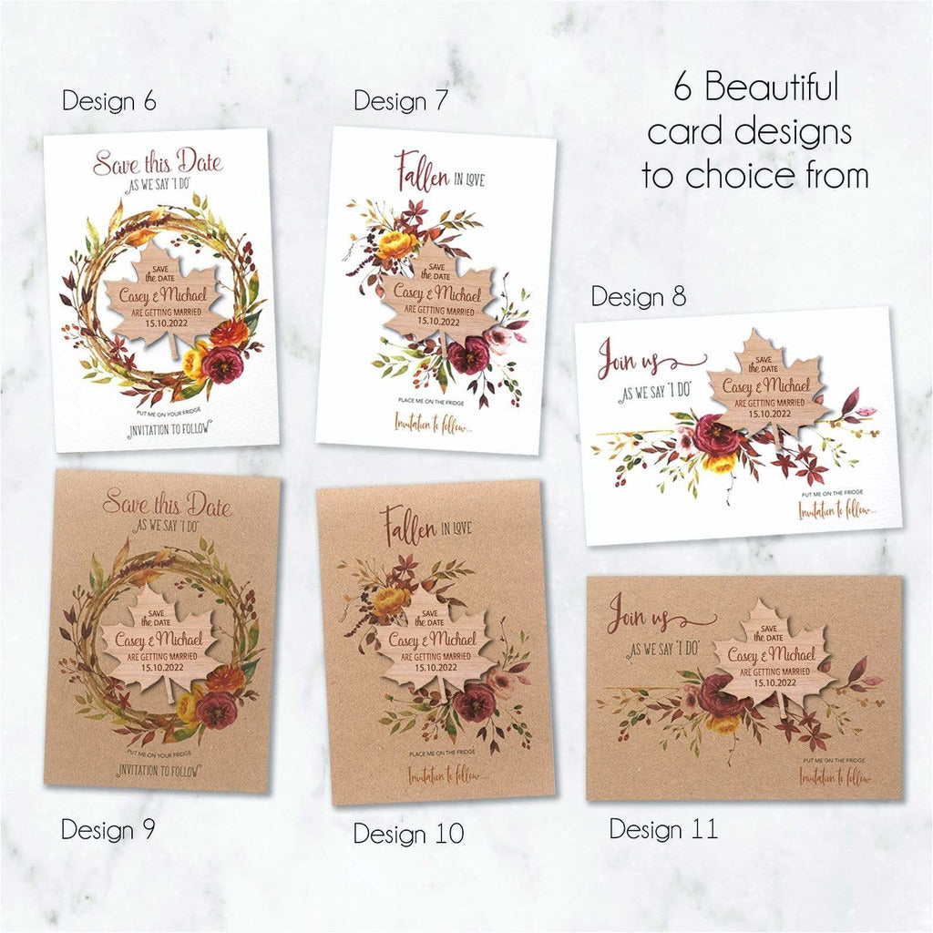 Save The Date Autumn Fall Magnets Wooden Maple Leaf Magnets with Cards NIVI Design