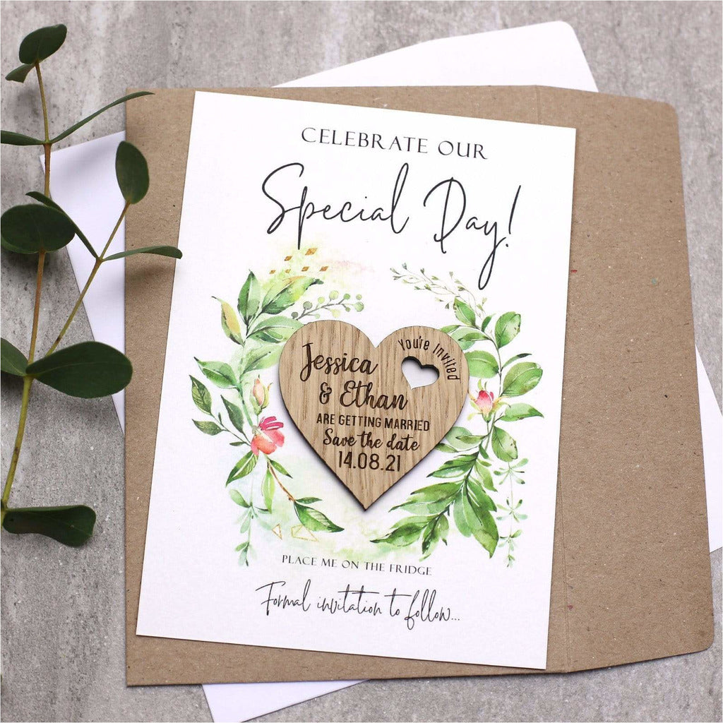 Save The Date Wedding Magnets Wood Heart with Cards NIVI Design