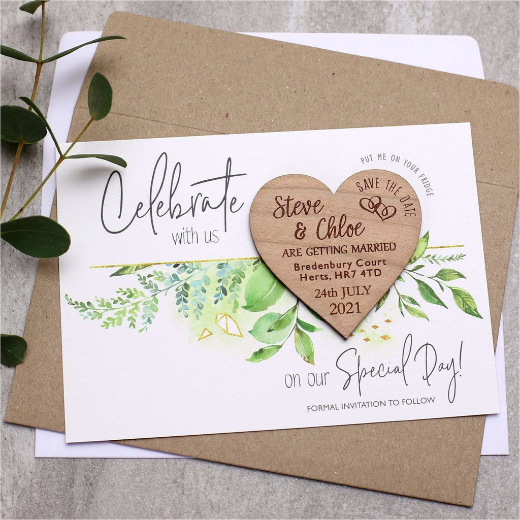 Save the Date Wooden Heart Wedding Magnet Card NIVI Design