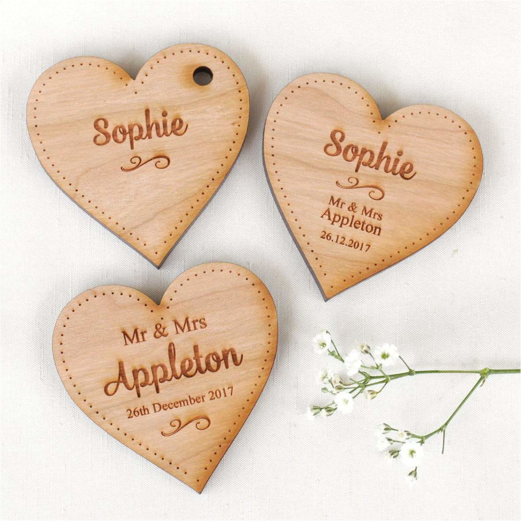 Wedding Table Decorations Personalised Name Place Setting Wooden LARGE Hearts NiVi Design