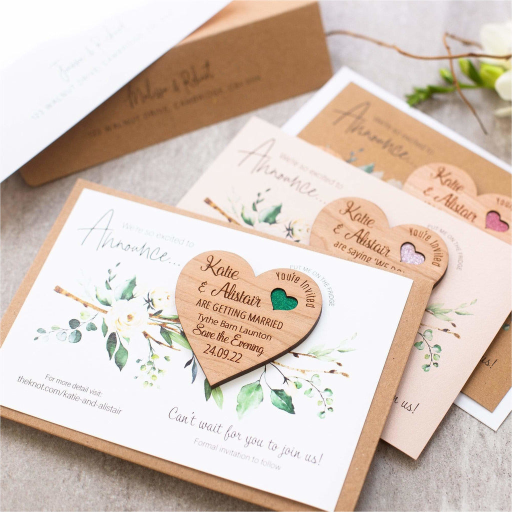 Wooden Heart Save The Date Magnets With Luxury Cards NIVI Design