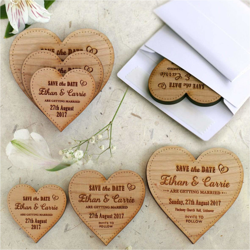 Wooden Save The Date Magnets Medium Hearts NiVi Design