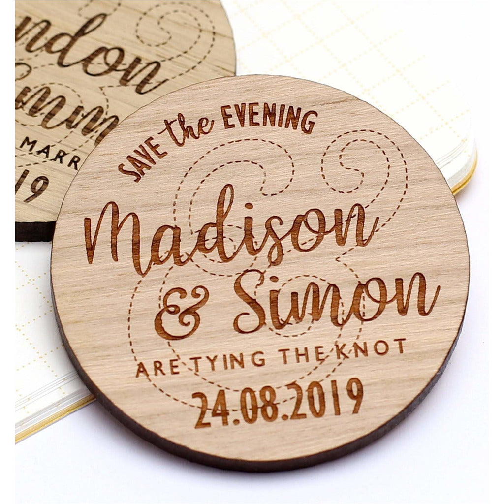 Wooden Save the Date Wedding Magnets NiVi Design