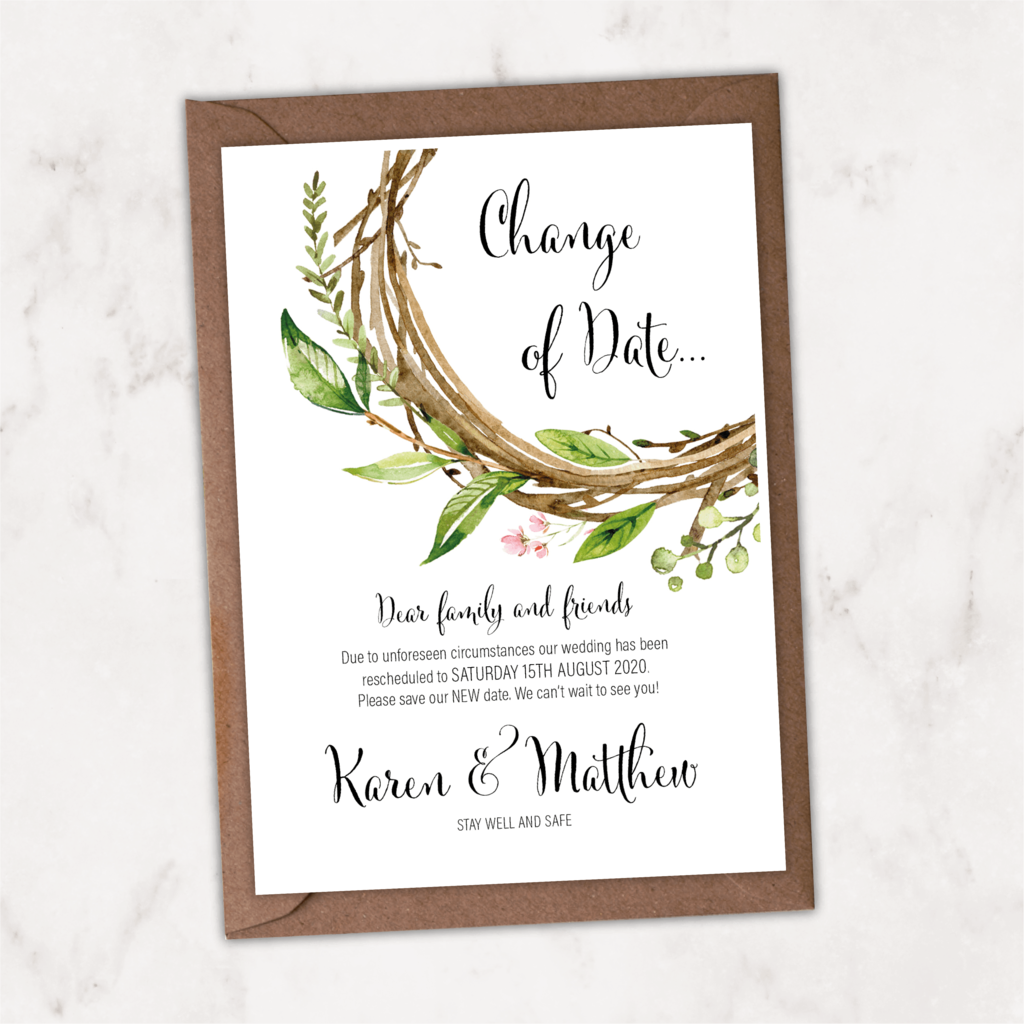 Wreath Postponed Save The Date Card NIVI Design