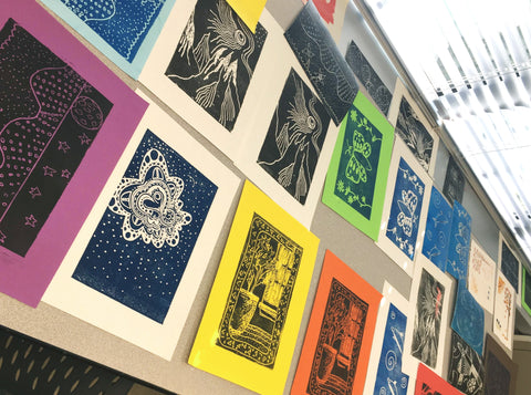 Women at TGP were able to make prints like these throughout the summer with the help of the Art Students League of Denver.