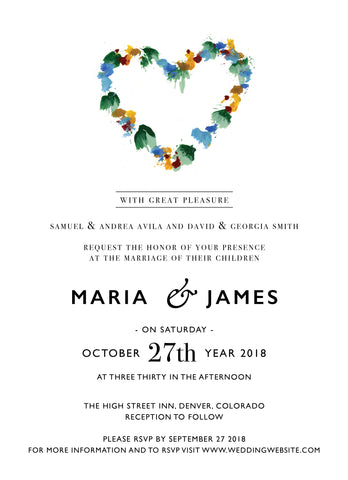 Wedding Invitation: Floral Heart by CFF