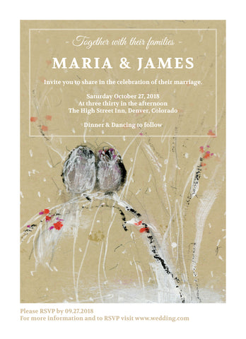 Wedding Invitation: Valentine Sparrows by CLM