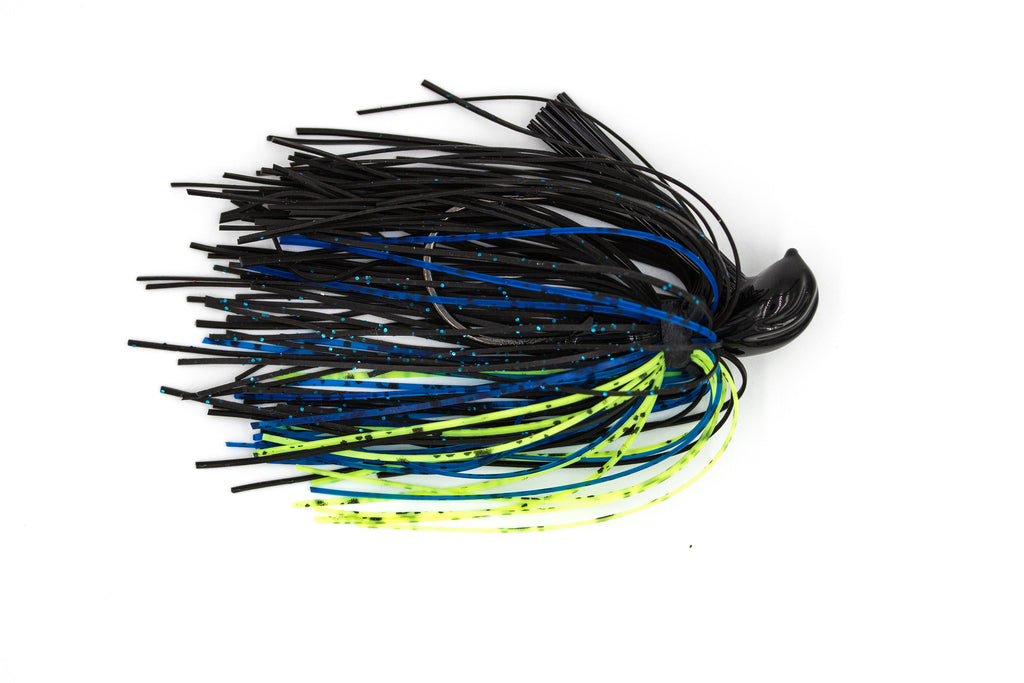 Black/Blue Chartreuse Football Jig