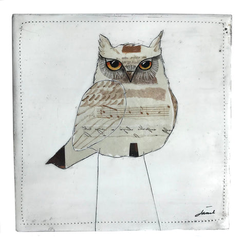 Wise Owl 7 - 6x6 Encaustic Art
