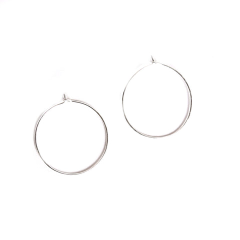 Round silver hoop earrings