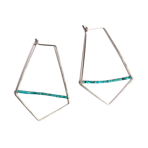 Hammered Turquoise & Silver Hoops