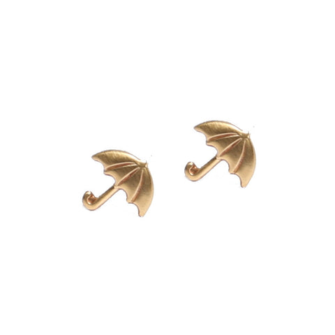 Tiny Umbrella brass stud earrings
