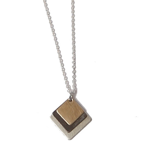 Triple Stacked Square mixed metal necklace