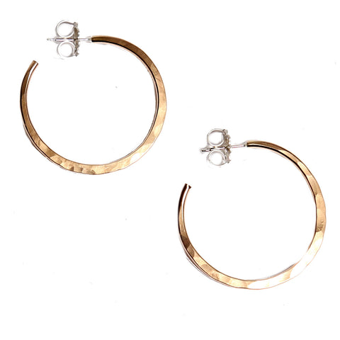 Hammered hoops small gold
