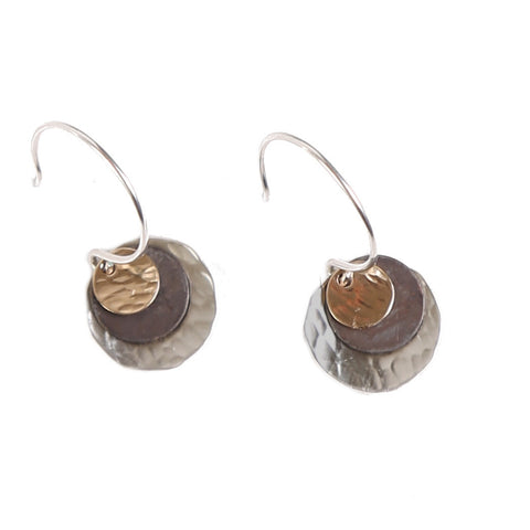 Triple hammered disc earrings